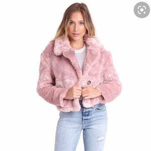 Free People Mena Faux Fur Jacket Sz L